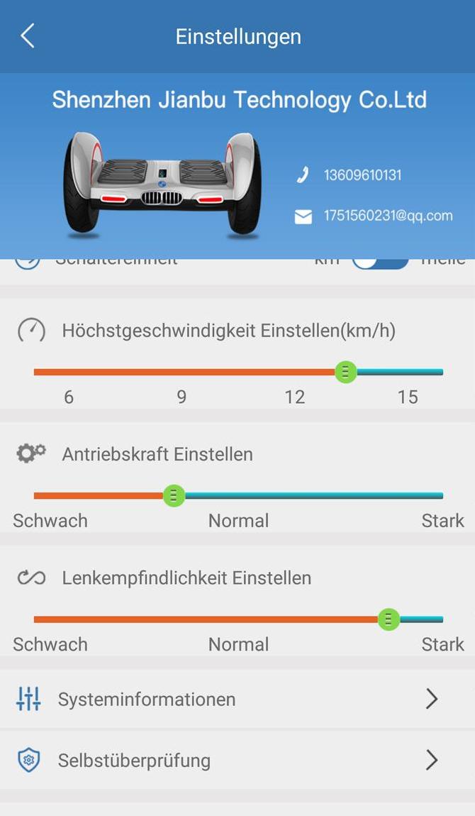 Höchstgeschwindigkeit, Antriebstkraft und Lenkempfindlichkeit in der App einstellen
