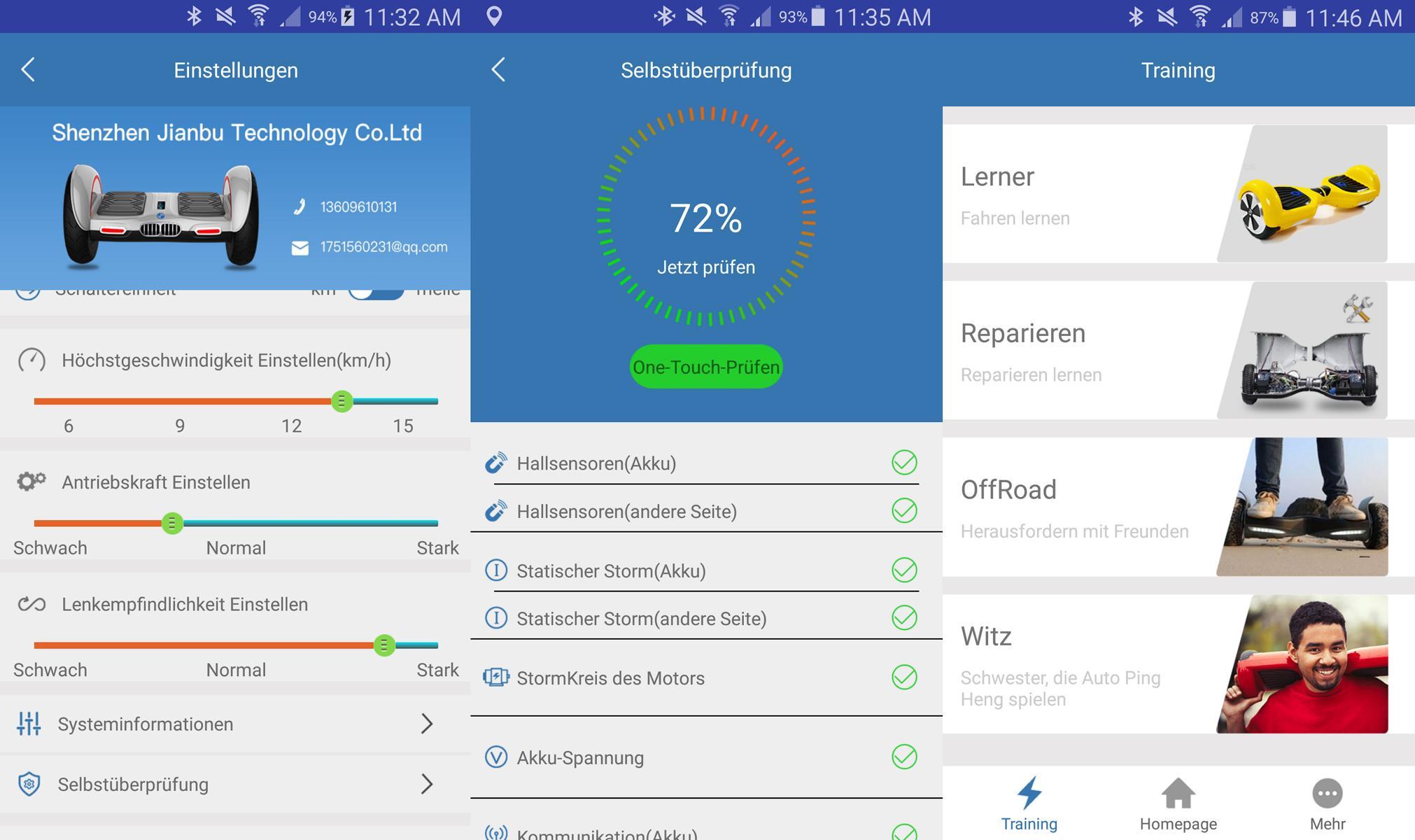 TaoTao App zur Bedienung des Robway W3