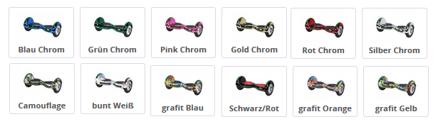Farbkombinationen des RObway W3