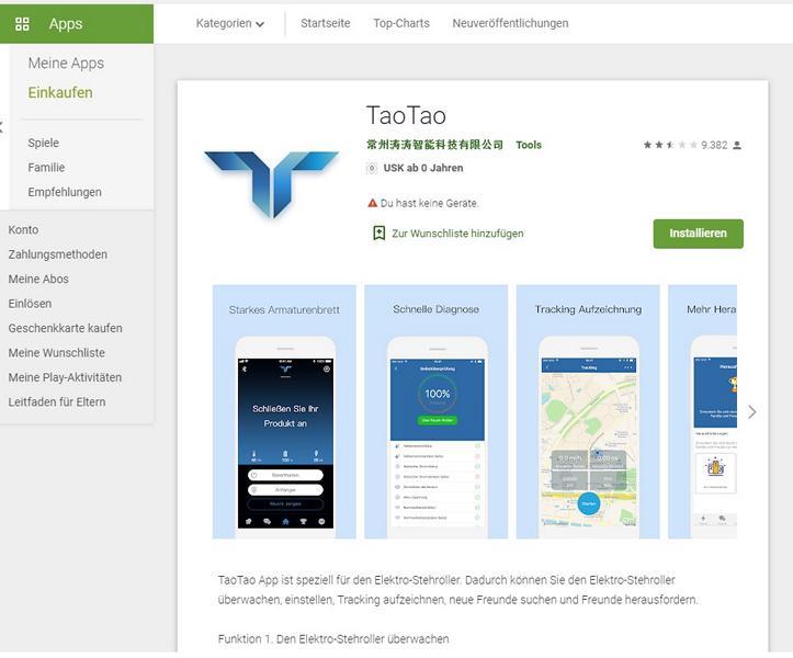 TaoTao Plus App im GooglePlay Store